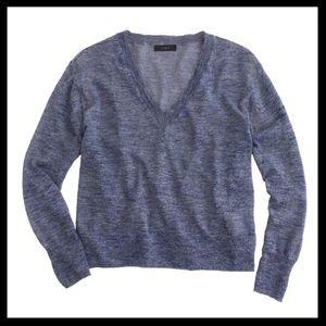 j. crew // marled linen v-neck purple knit sweater